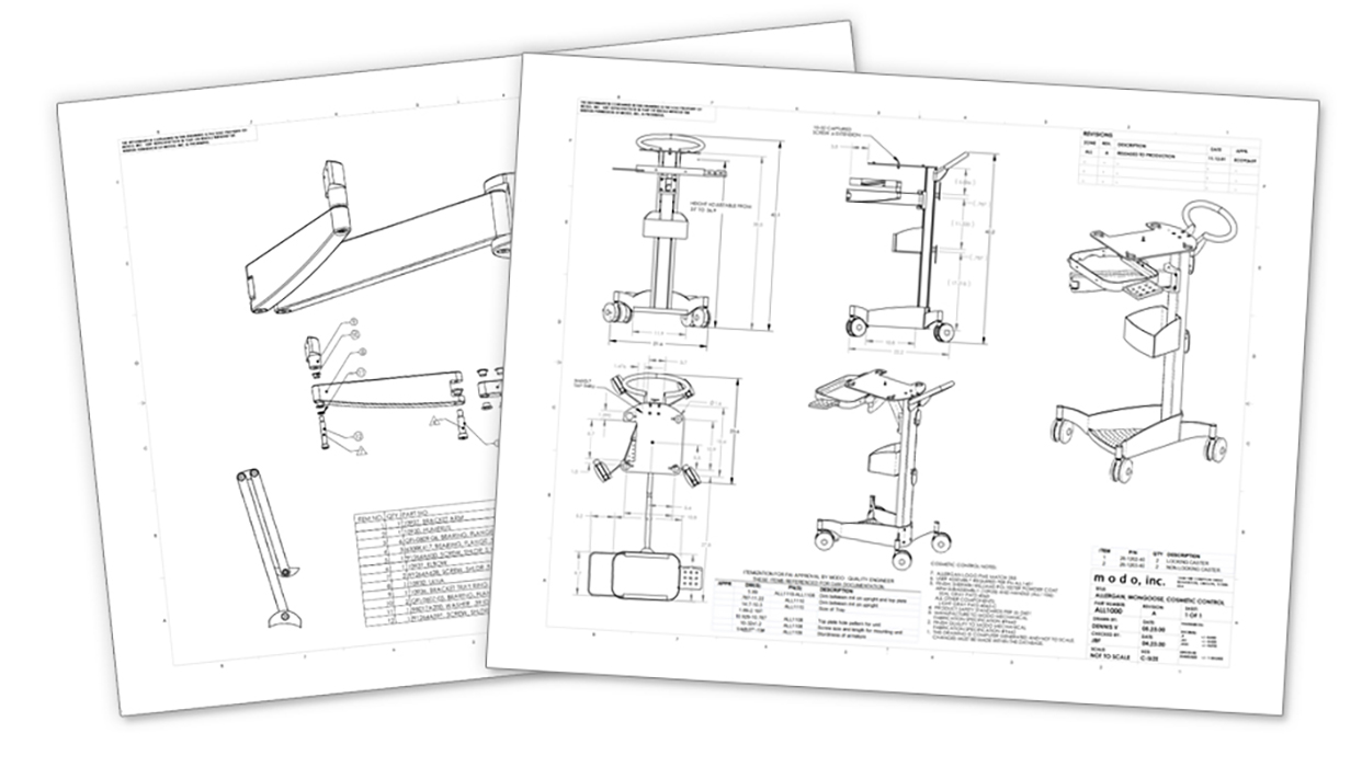 medical tech cart manufacturing documentation