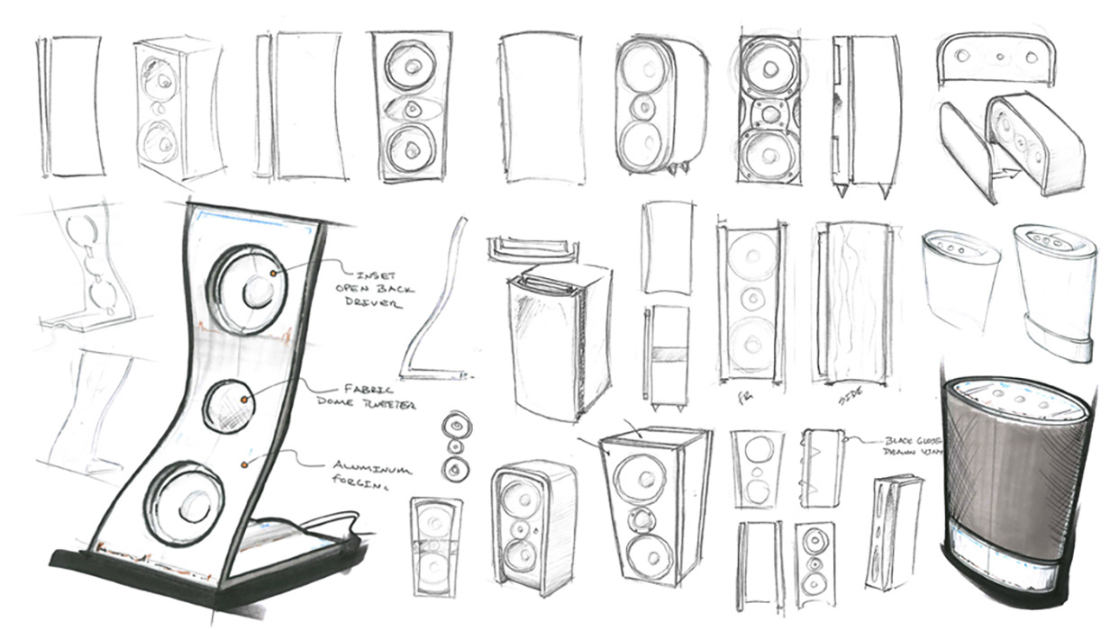 speaker design concept sketch