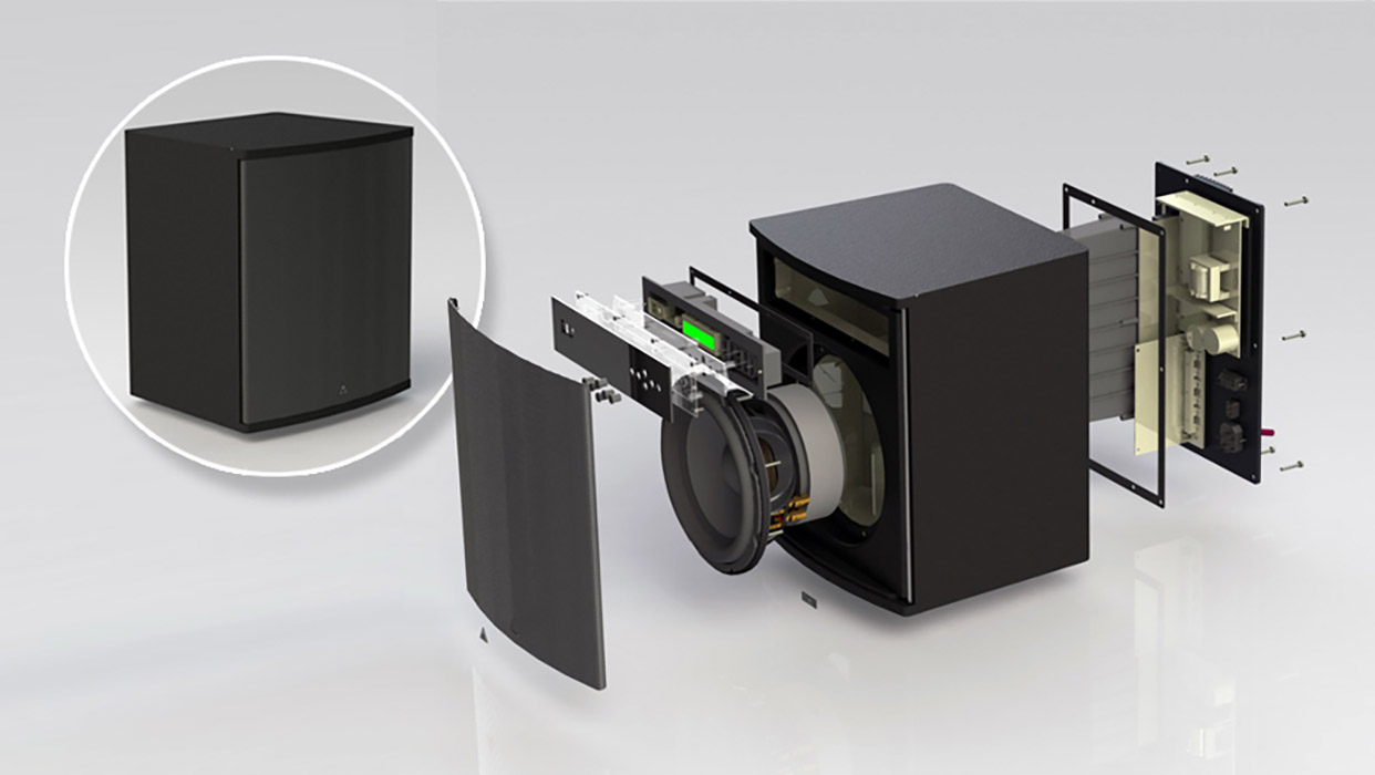subwoofer 3d design cad rendering exploded view