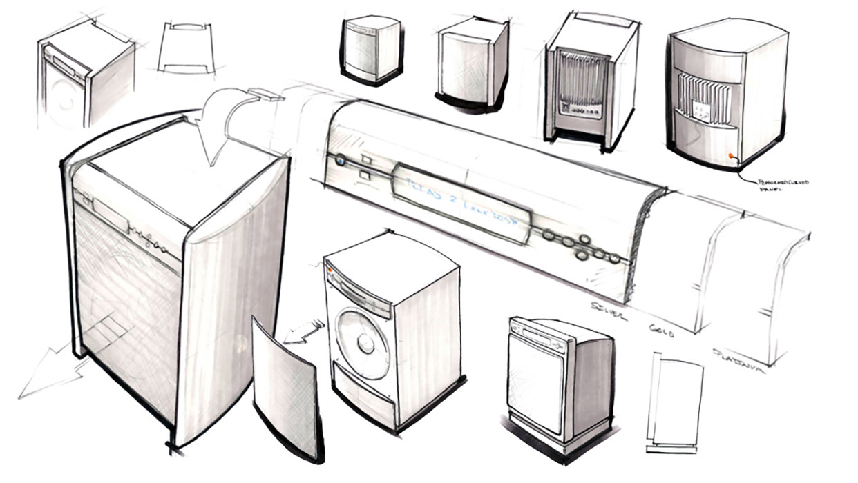 subwoofer and speaker family design sketch details