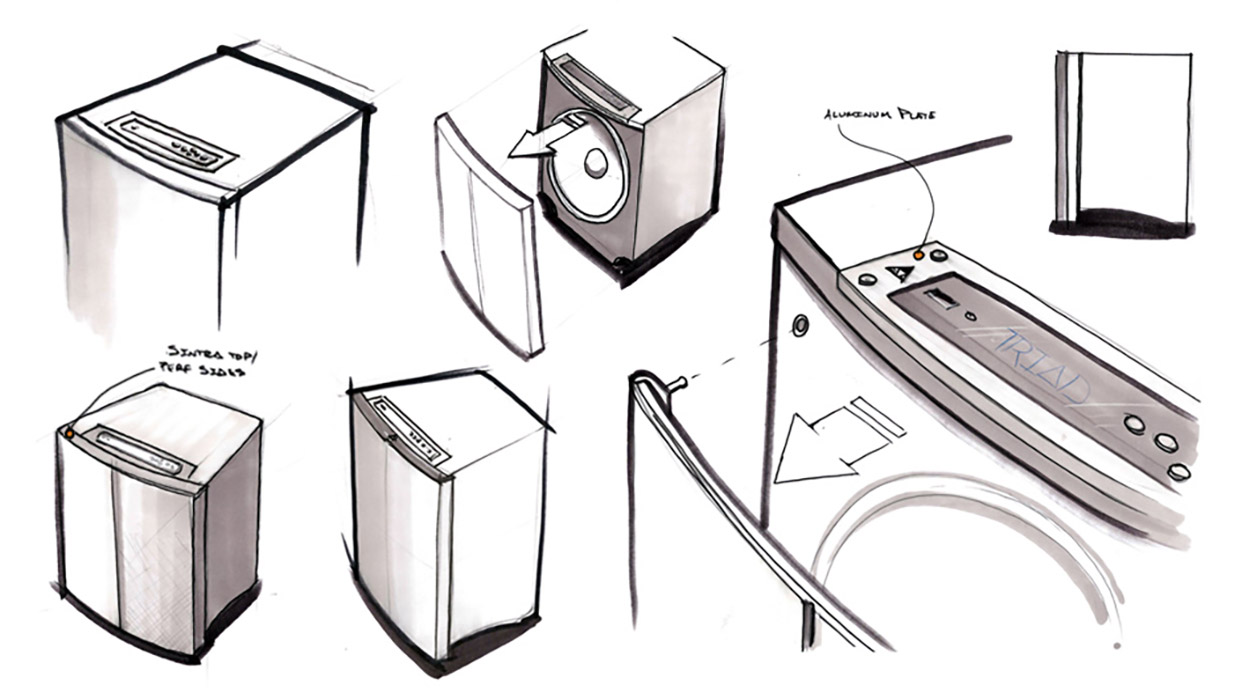 subwoofer design sketch exploded view