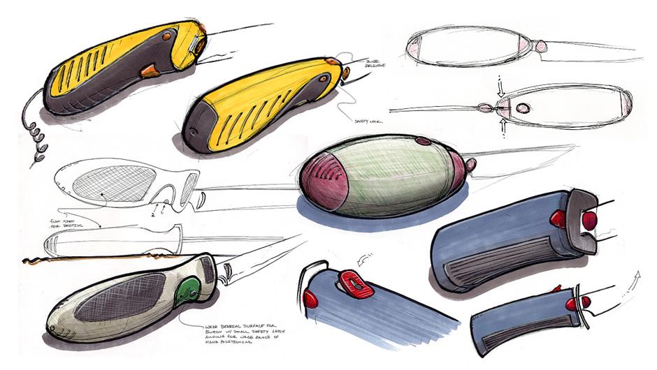 electric knife design sketch work
