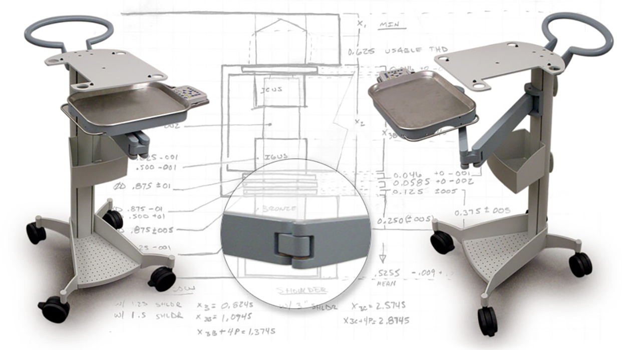 tech cart design sketch and cad rendering