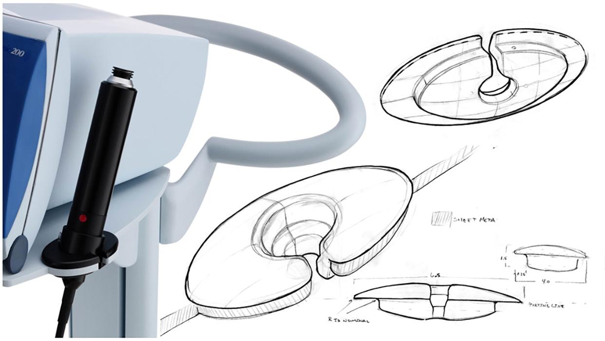 medical cart design sketch and 3d rendering