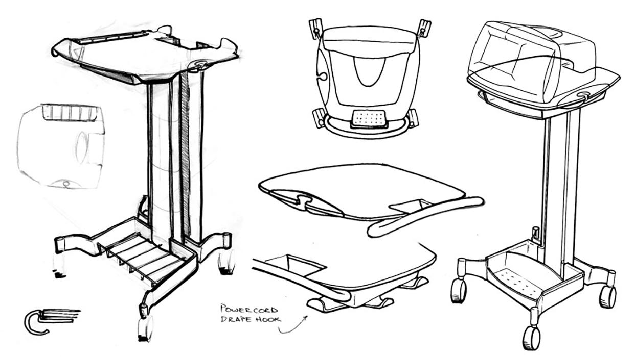 medical cart design sketch